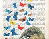 SONATINE 2 elephant butterflies in love art print poster wall decor animal dictionary art