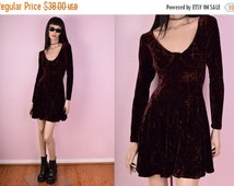 SUMMER SALE 90s Crushed Velvet Burgundy Brown Dress