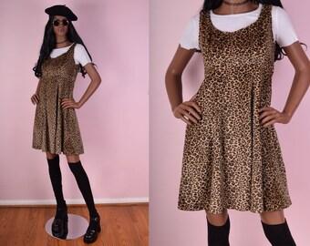 90s Fuzzy Leopard Print Dress/ Medium/ Cheetah Print