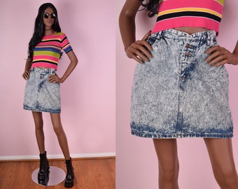 90s Acid Wash Denim Skirt/ 30 Waist/ 1990s/ Vintage/ Jean Skirt