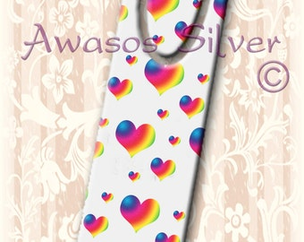 Metal bookmark with high quality printed original images. Rainbow hearts with white background on high quality metal bookmark.