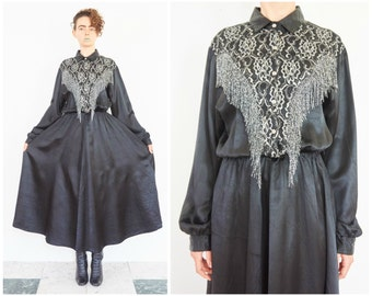 80s Avant Garde Black Satin Western Shirt Dress