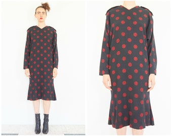 80s Tapered Long Sleeve Polka Dot Party Dress
