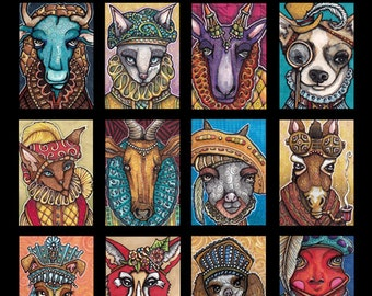 Fancy Animals Poster 12 x 18, Dogs, Cats, & Farm and Wild Beasts!