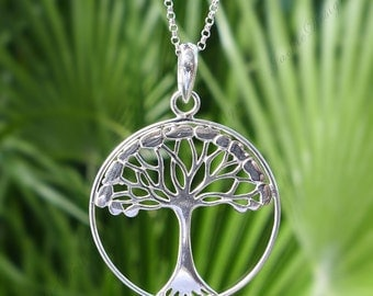 28mm Tree of Life Sterling Silver Chain Necklace JD32