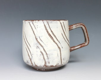 Carved Design Coffee Mug, Wavy Striped Stoneware Coffee Mug, Textured Mug, Handmade Pottery Mug