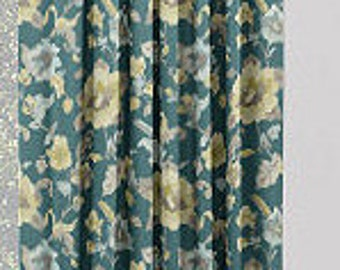 """Two 96"""" x 50""""  Custom LINED Curtain Panels - Rod Pocket Panels- Robert Allen Dwell Studio Lalita Floral Peacock Turquoise"""