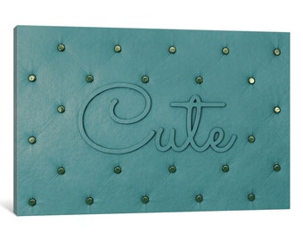 iCanvas Cute Teal Gallery Wrapped Canvas Art Print by 5by5collective