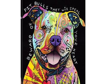 iCanvas Beware of Pit Bulls Gallery Wrapped Canvas Art Print by Dean Russo