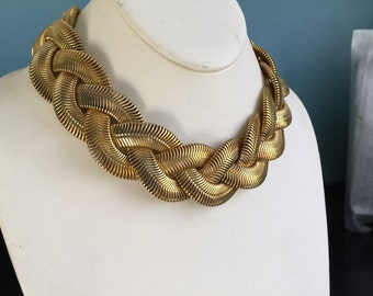 Vintage snakeskin necklace thick braided woven mesh links wide collar necklace gold tone or brass statement jewelry very unusual