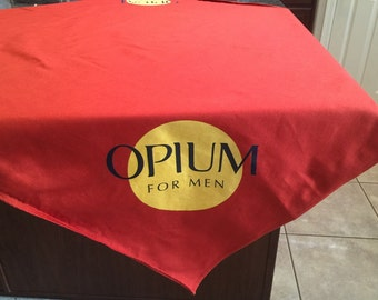 Opium perfume tablecloth red table cover Yves Saint Laurent For Men trade show in-store perfume promotions Saks Neiman Marcus Bloomingdale