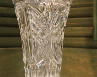 Beautiful Large Pressed Glass Floral Vase