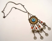 Vintage Kuchi Necklace w Beads, Antique Brass Tribal Jewelry, Gypsy Necklace, Boho Necklace