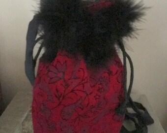 Burgundy Velvet designed Draw String Purse, Feathers