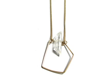 Modern Geometric Delicate Pendant Necklace. Quartz Minimalist Necklace. Necklace. Gold Plated Necklace