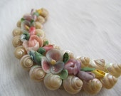 Crescent moon sea shell flower brooch / Vintage sea shell colourful brooch