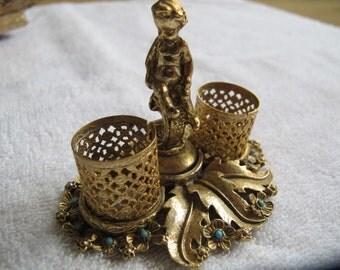 Vintage cherub dual lipstick holder with flowers and turquoise stone centres