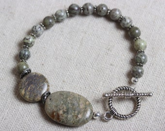 Earthy Circle & Oval Focal Bead Alpine Agate Bracelet with Silve Twist Toggle