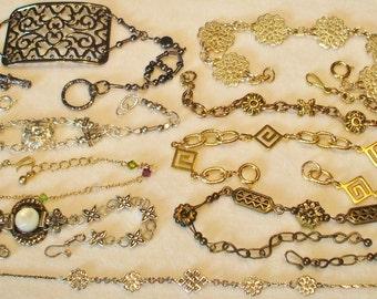 10 Vintage Filigree Chain linked bracelets