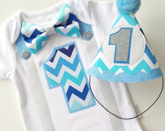 Baby Boys First Birthday Party Outfit Silver and Blues Includes Baby Bodysuit and Party Hat