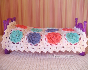 Crochet Pattern 160 - Crochet Blanket Pattern in two sizes - Doll Blanket Baby Blanket Granny Square Crochet Flower Blanket Crochet Afghan