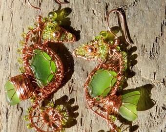 Seahorse Earrings - beach glass, sea glass, seahorse, jewelry, earrings, wire wrapped