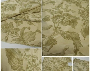 Printed Silk Fabric Remnant- Floral - pc 27inx35in-Botanical -Carrier Fabrics- Sage-Beige