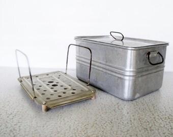 Vintage Aluminum Roaster Steamer with Rack Insert Square Wearever