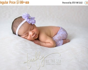 SALE 25% OFF - Newborn Lavender Lace Pants for Photo Shoots with matching headband, photographer, infant lace pants, baby pants, bebe by Lil