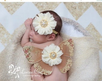 SALE 25% OFF - Brown and gold glitter wings, purchase headband only, wings only or the set - for newborn photos, photo prop, newborn photogr