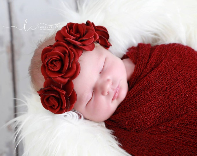 Featured listing image: Cranberry/Merlot Boho Headband AND/OR Knit Swaddle Wrap in Cranberry/Merlot, photo shoots, flowers are 2 inches each, by Lil Miss Sweet Pea