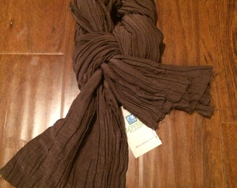 Hemp/Silk Crepe Scarf-  Brown