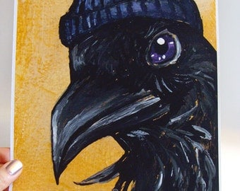Clearance Sale: Raven Art, 8x10 Print, Black Bird Picture, Crow Decor, Toque Hat, Yellow Poster, Animal Illustration