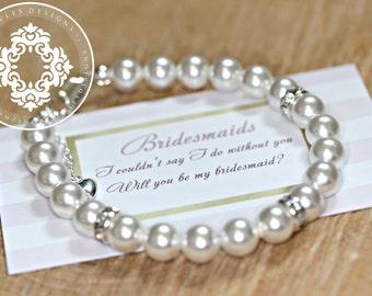 Will you be my Bridesmaid?, Swarovski Crystal Pearl Bracelets, Bridesmaid Bracelets,  Womens accessories, Bridal party, Bridal Accessories,