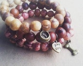 Acai Seeds Charms Bracelets - 3 - brown, pink, natural beige, charms, I love my dog.