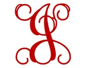 "2.5"" Vine Monogram Vinyl Decal Sticker - 1 Initial - 26 Colors to Choose From"