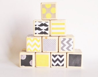 Little Man wooden baby blocks. Yellow / Black nursery decor. Mustache theme baby shower decoration. TOY. shelf sitter. gift for new baby.