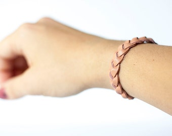 Braided Leather Bracelet / Canyon Peach