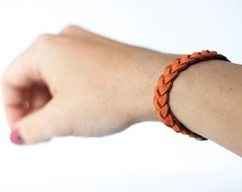 Braided Leather Bracelet / Tangerine