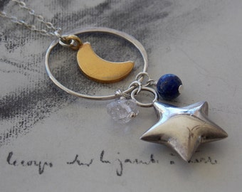 Moon and Star Gemstone Charm Necklace, Sterling Silver, Herkimer Diamond Quartz and Lapis Accents, Layering Necklace, Celestial Necklace