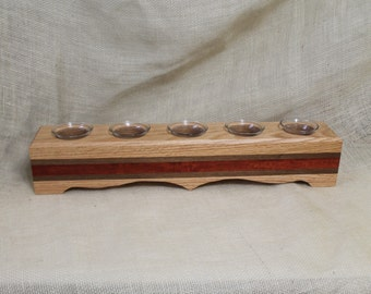 Beautiful Hardwood Votive Candle Holder With 5 Glass Votive Cups