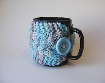 Double Cable Cup Cozy in Blue andGray Variegated, Mug Cozy, Tea Cozy, Mug Sleeve, Mug Sweater, Cup Warmer
