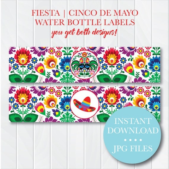 Mexican Party Printable Water Bottle Labels Cinco de Mayo