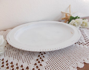 White Shabby Chic Oval Serving Tray Up Cycled Vintage Rustic Distressed Beach Cottage French Country Farmhouse Home Decor Birthday Gift Her