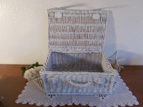 Beach Wedding Gift Basket : White Wedding Gift Card Picnic Basket Up Cycled Vintage Shabby Chic ...