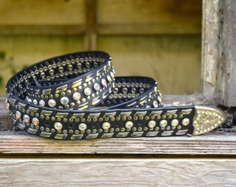 Vintage Leather Belt, Western Black Rhinestone Belt, Rodeo Belt by Nocona, Large