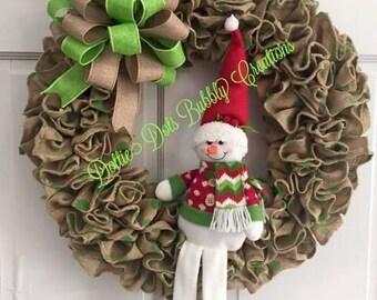 Burlap Ruffle Snowman Wreath, Christmas Snowman Wreath, Winter Wreath, Burlap Wreath