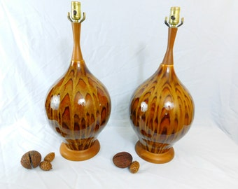 Vintage  pair Mid Century 1960s Eames era Danish  Mod brown drip glaze table lamps with original shades