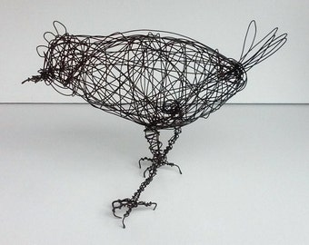 FLUFFY CHICKEN - Original Handmade Wire Bird Sculpture