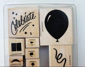 Celebrate two step 12 piece set Rubber stamps Stampin Up Wood mounted Birthday Party Invitations Cards Scrapbook pages